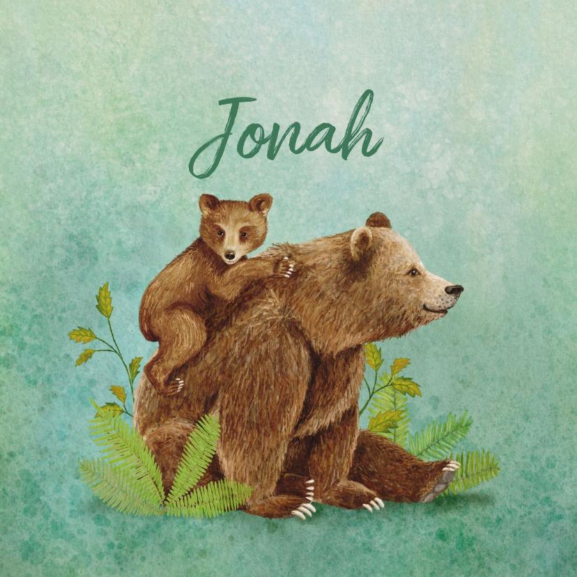 Geboortekaartjes - Geboortekaartje beer met berenjong