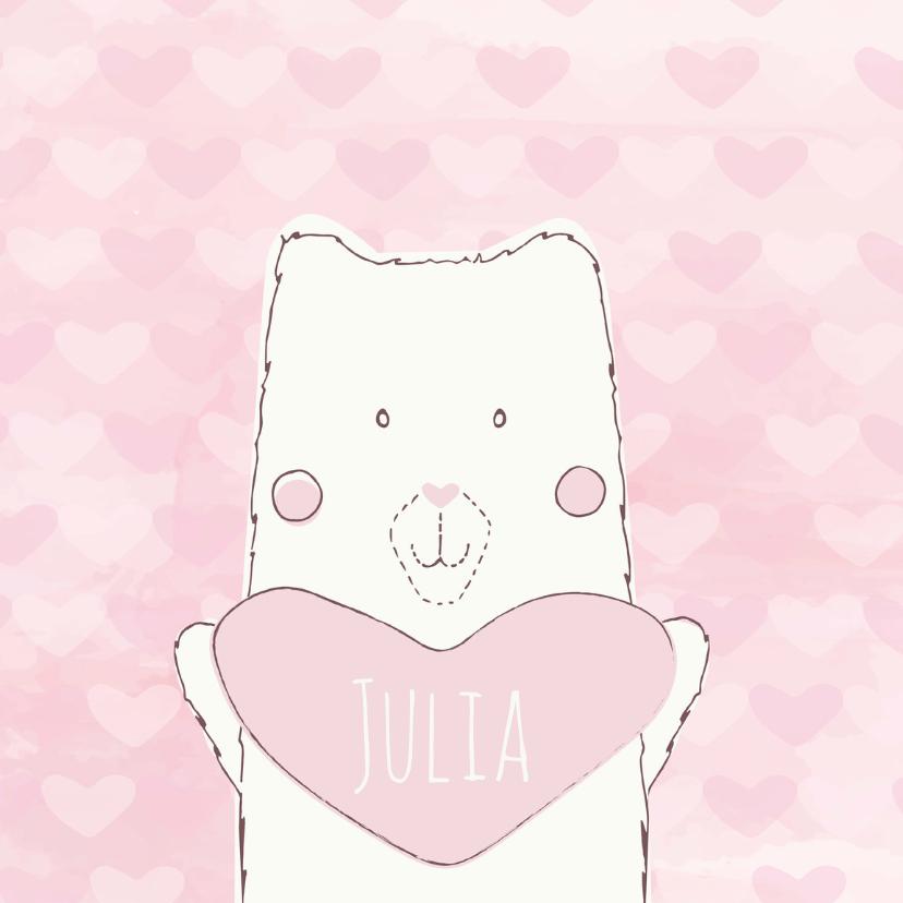 Geboortekaartjes - Geboortekaartje beer met hartje