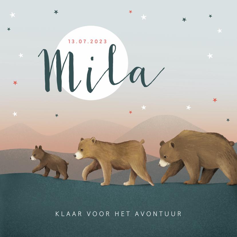 Geboortekaartjes - Geboortekaartje berenfamilie illustratie meisje sterren maan