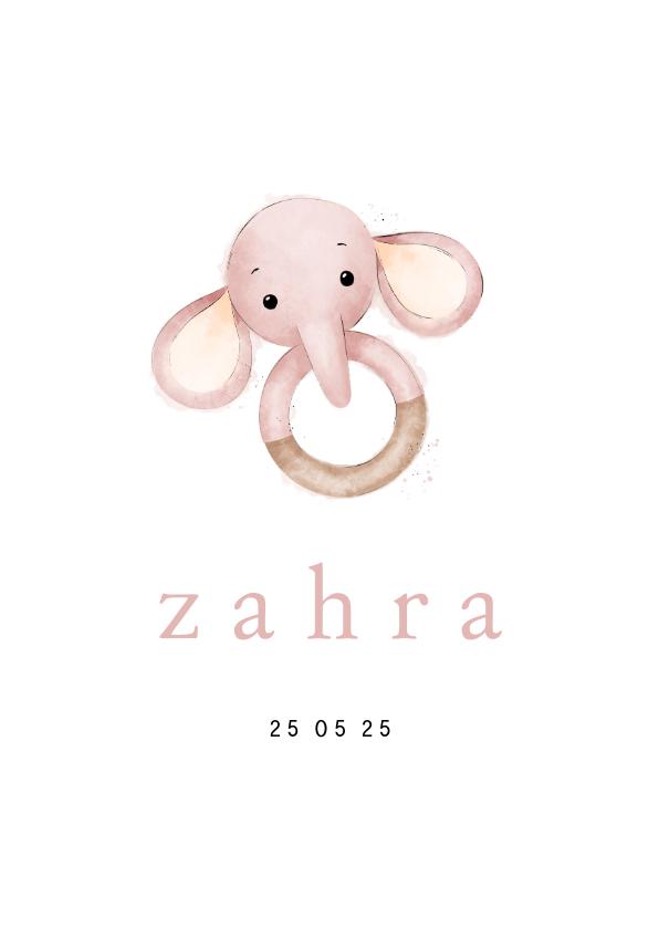 Geboortekaartjes - Geboortekaartje bijtring met olifantje stijlvol