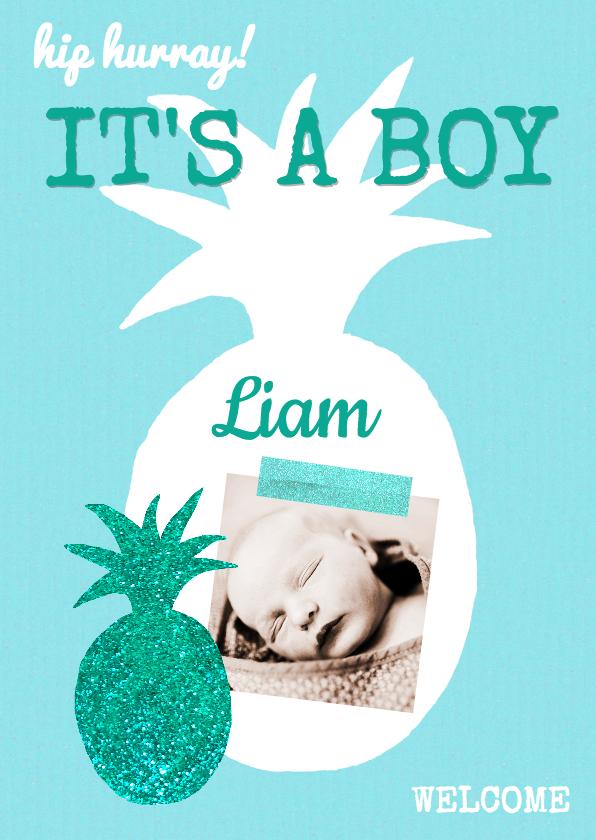 Geboortekaartjes - Geboortekaartje blauw ananas