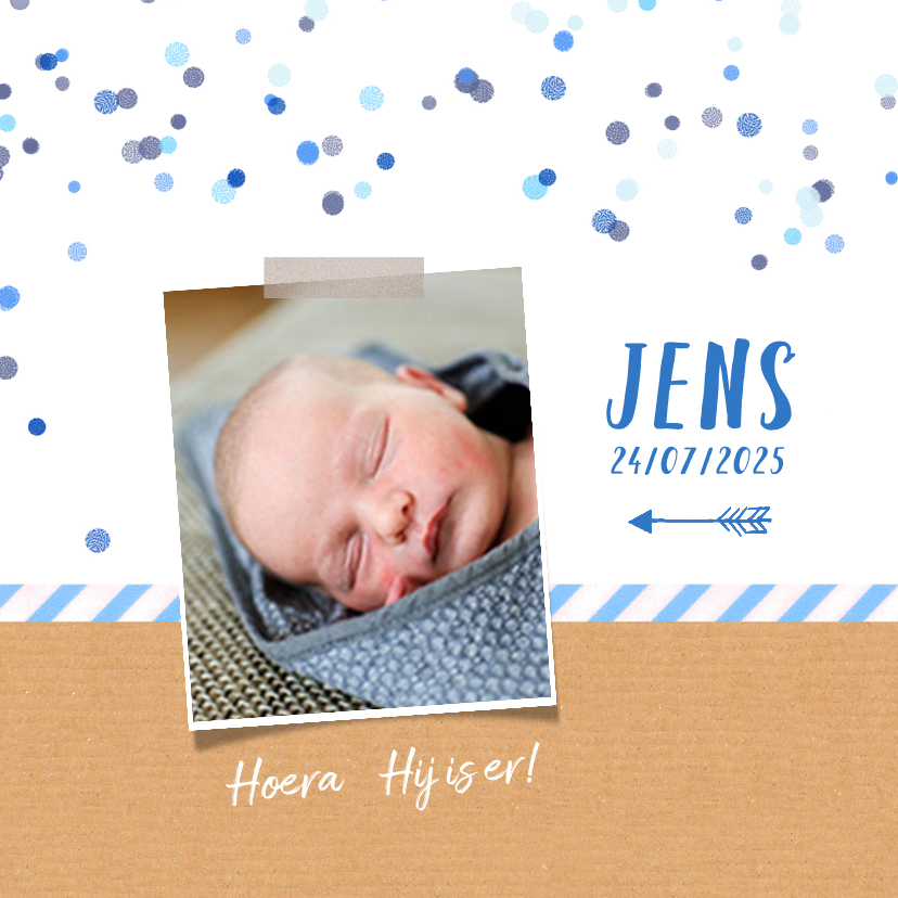 Geboortekaartjes - Geboortekaartje blauw confetti