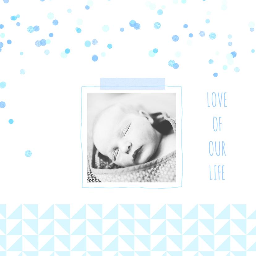 Geboortekaartjes - Geboortekaartje blauw driehoekje