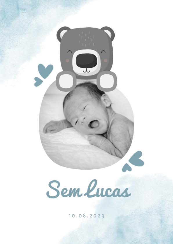 Geboortekaartjes - Geboortekaartje blauw met foto, beer en waterverf