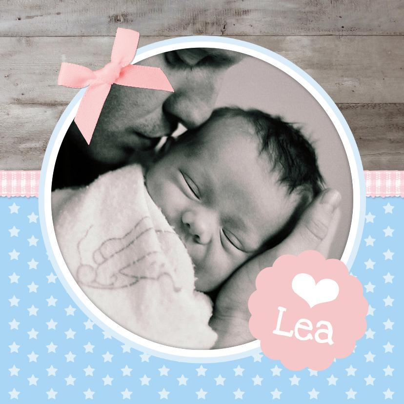 Geboortekaartjes - Geboortekaartje blauw roze ster