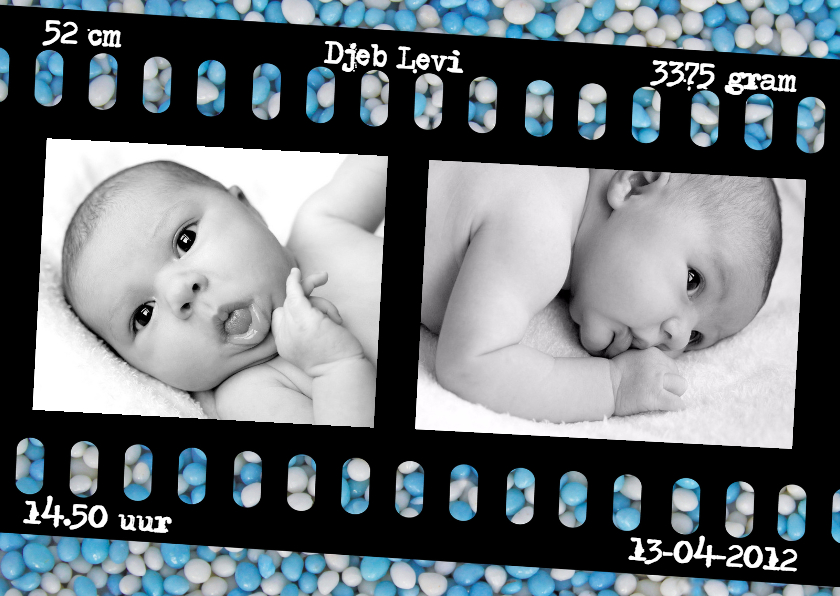 Geboortekaartjes - Geboortekaartje Blauwe Muisje Dia