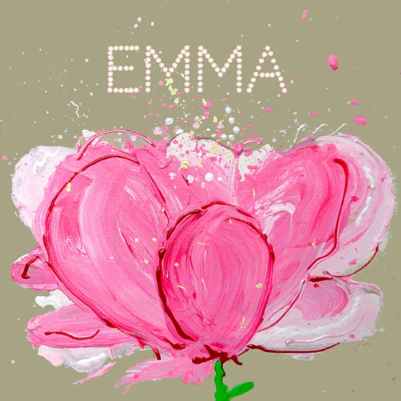 Geboortekaartjes - Geboortekaartje bloem roze