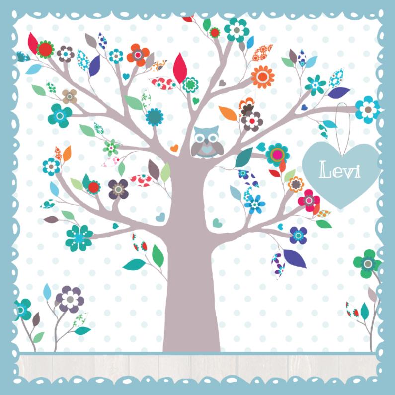 Geboortekaartjes - Geboortekaartje BloemenBoom Uil