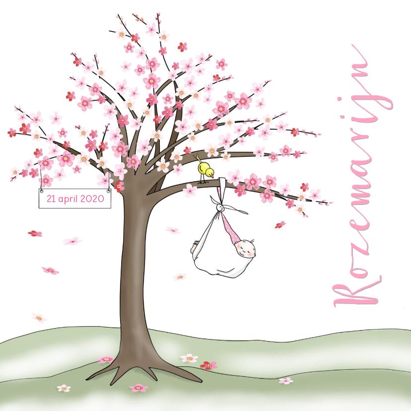 Geboortekaartjes - Geboortekaartje bloesemboom voor een meisje