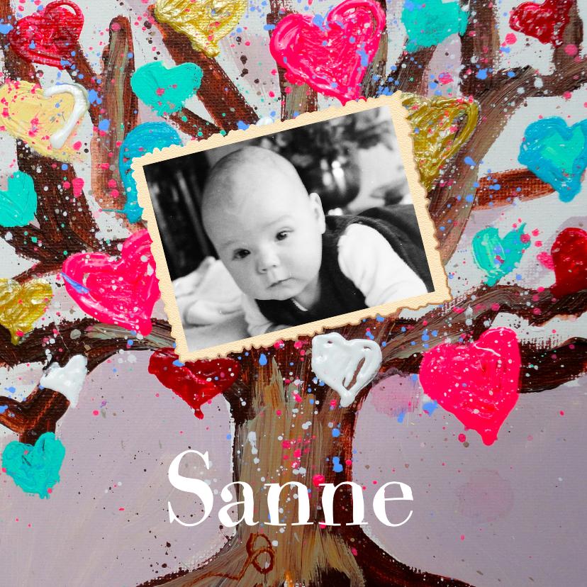 Geboortekaartjes - Geboortekaartje boom en foto