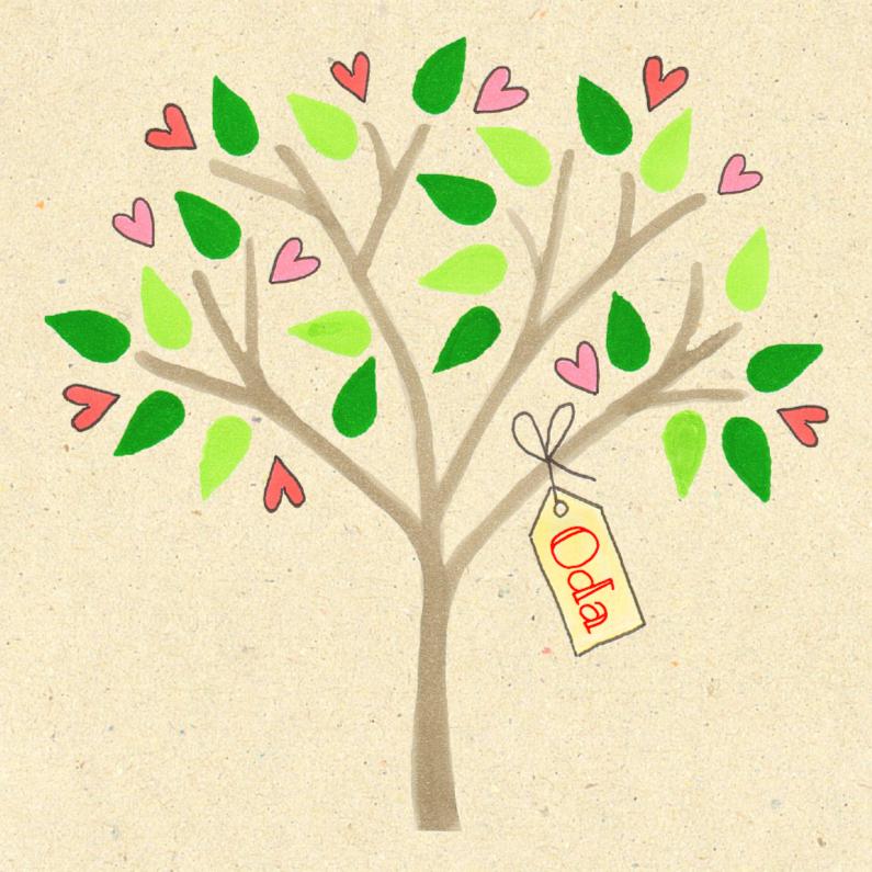 Geboortekaartjes - geboortekaartje boom met hartjes