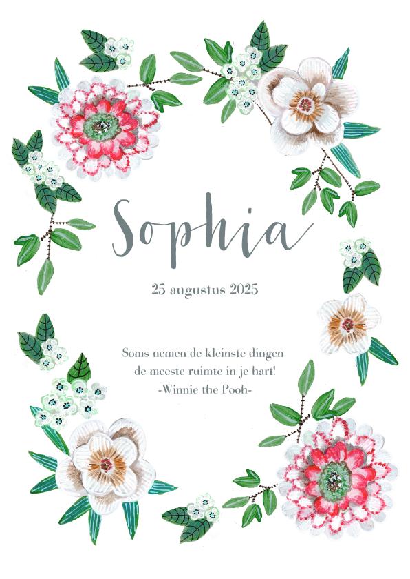 Geboortekaartjes - Geboortekaartje botanisch bloemen