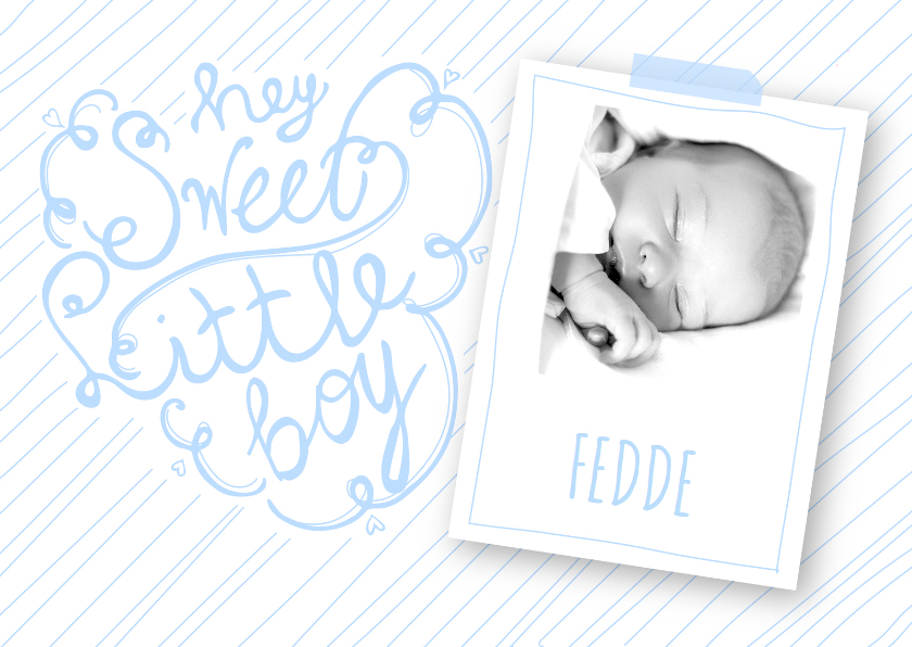 Geboortekaartjes - Geboortekaartje boy tekst foto