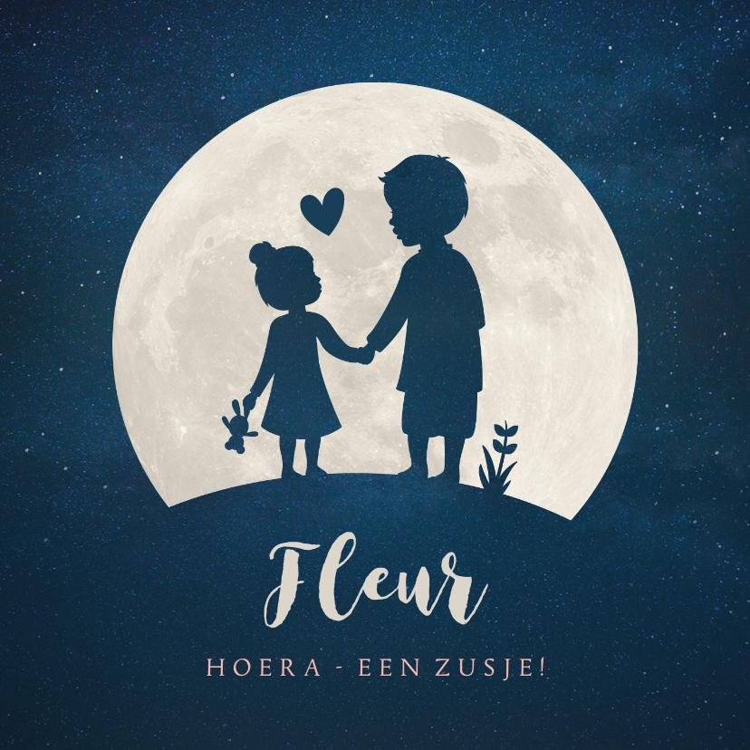 Geboortekaartjes - Geboortekaartje broer zusje - silhouet hand in hand met maan