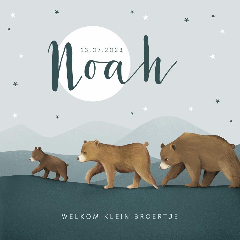Geboortekaartjes - Geboortekaartje broertje dieren beren familie sterren