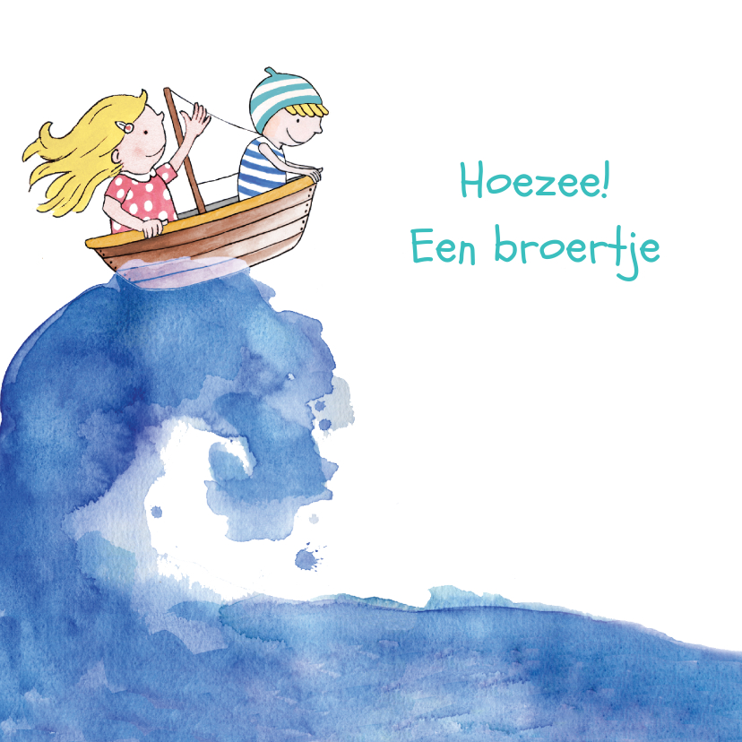 Geboortekaartjes - Geboortekaartje broertje illustratie bootje op zee blond