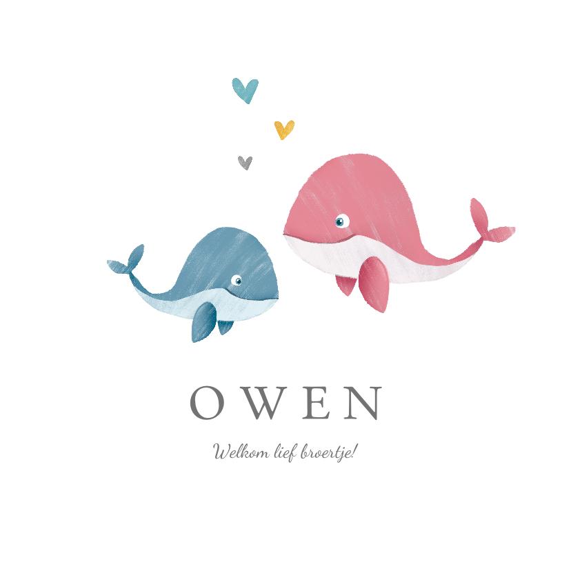 Geboortekaartjes - Geboortekaartje broertje of zusje met walvisjes