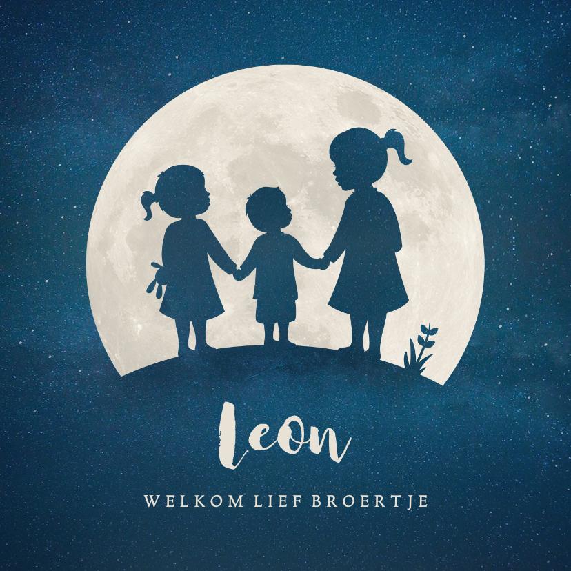 Geboortekaartjes - Geboortekaartje broertje silhouet met zussen in volle maan
