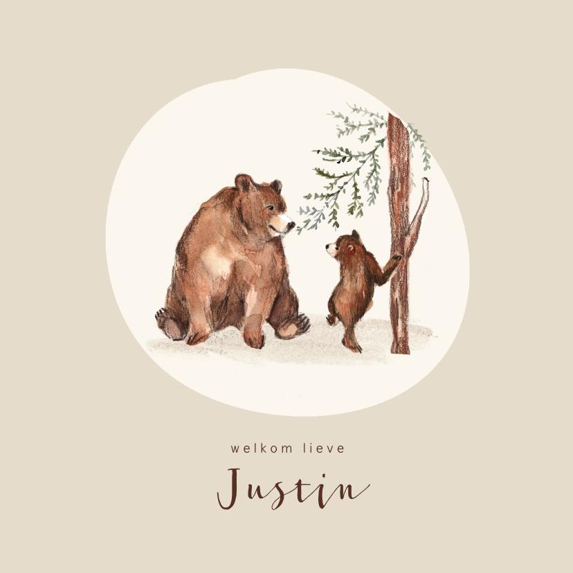 Geboortekaartjes - Geboortekaartje bruine beer met kleintje bij een boom