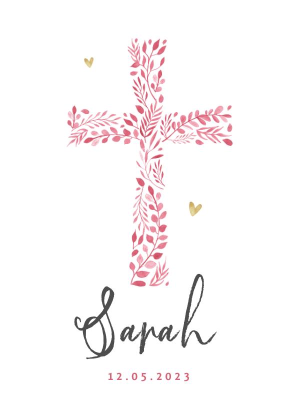 Geboortekaartjes - Geboortekaartje christelijk meisje roze hartjes goud foto