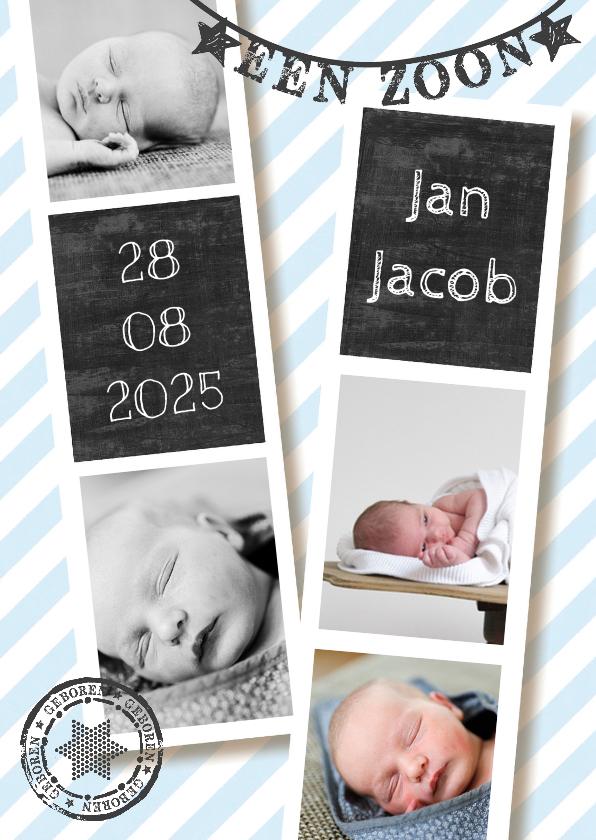 Geboortekaartjes - Geboortekaartje collage blauw