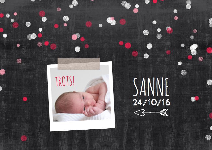 Geboortekaartjes - Geboortekaartje confetti meisje