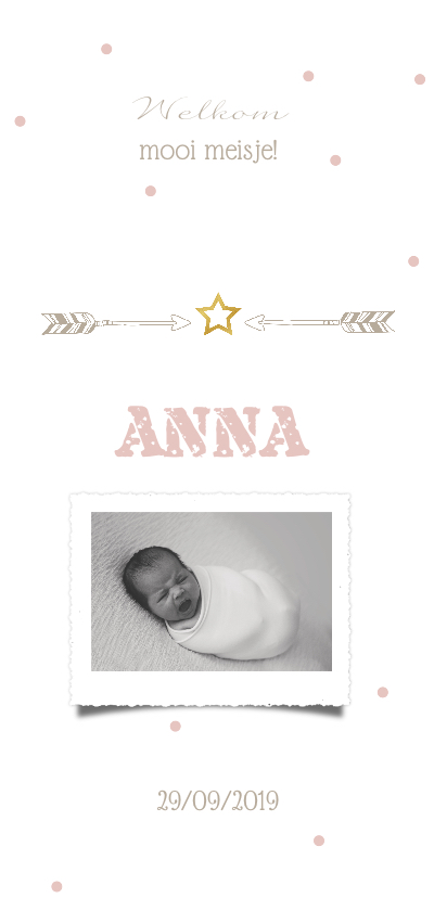 Geboortekaartjes - Geboortekaartje confetti met foto en gouden ster