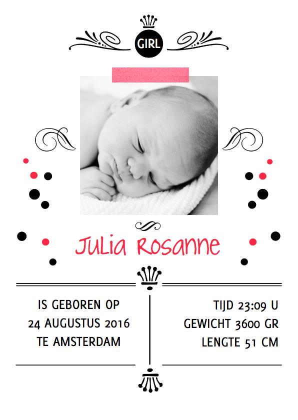 Geboortekaartjes - Geboortekaartje  confetti roze
