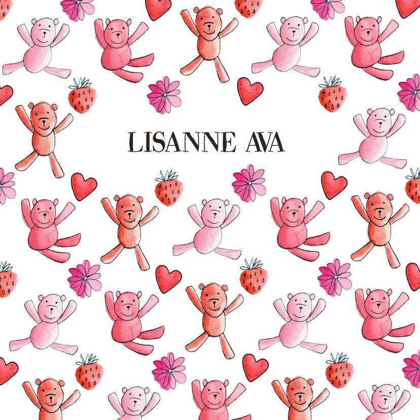 Geboortekaartjes - geboortekaartje dessin beren roze