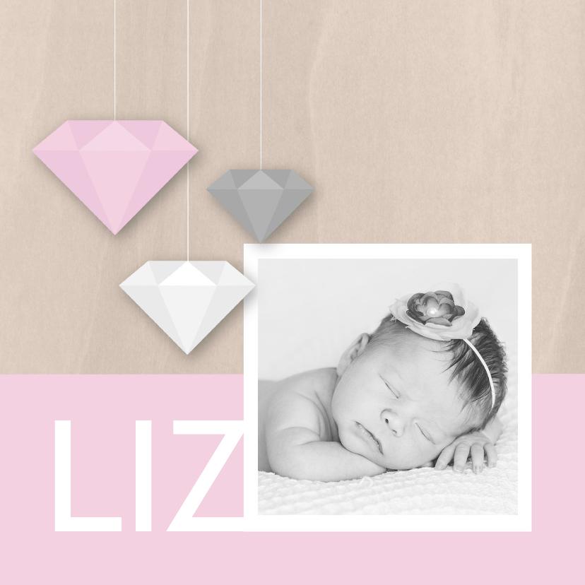 Geboortekaartjes - Geboortekaartje diamonds girl