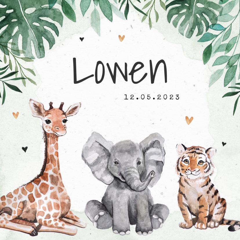 Geboortekaartjes - Geboortekaartje dieren jungle giraf olifant tijger waterverf