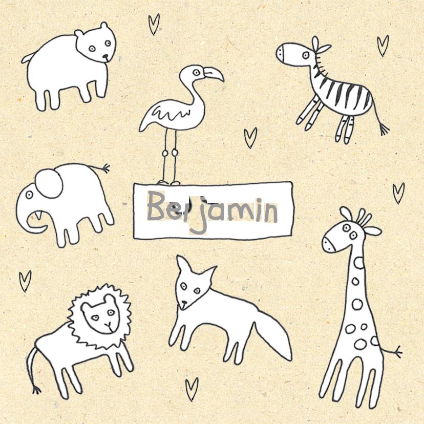 Geboortekaartjes - geboortekaartje dieren op geel