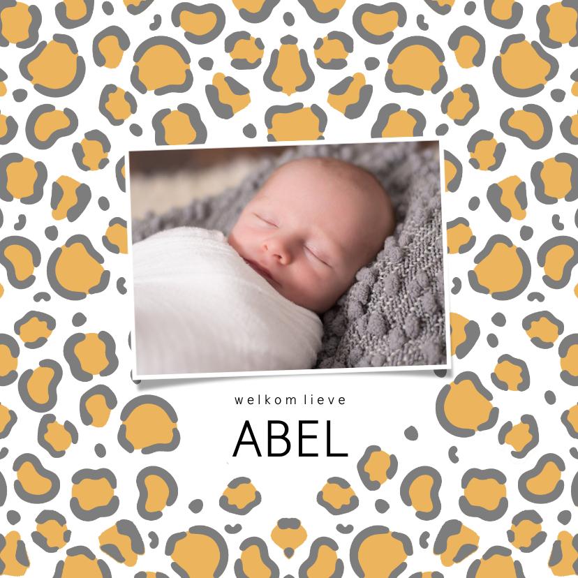 Geboortekaartjes - Geboortekaartje dierenprint tijger panter foto