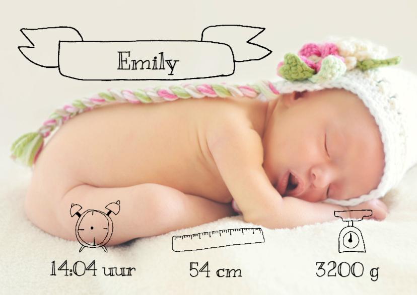 Geboortekaartje doodles - DH 1