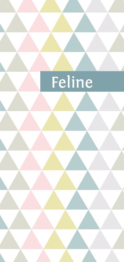 Geboortekaartjes - Geboortekaartje driehoek pastel meisje