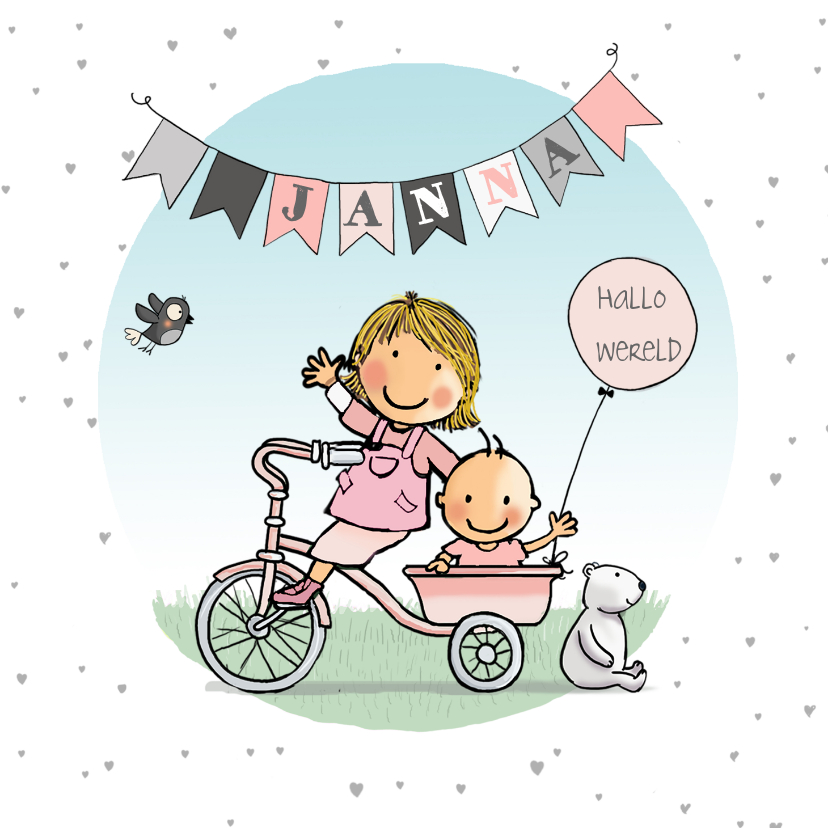 Geboortekaartjes - Geboortekaartje driewieler zusjes