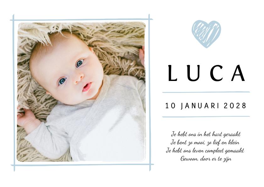 Geboortekaartjes - Geboortekaartje eigen babyfoto en blauw details
