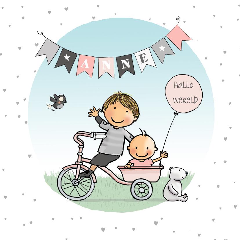 Geboortekaartjes - Geboortekaartje fiets bakje broer met zusje