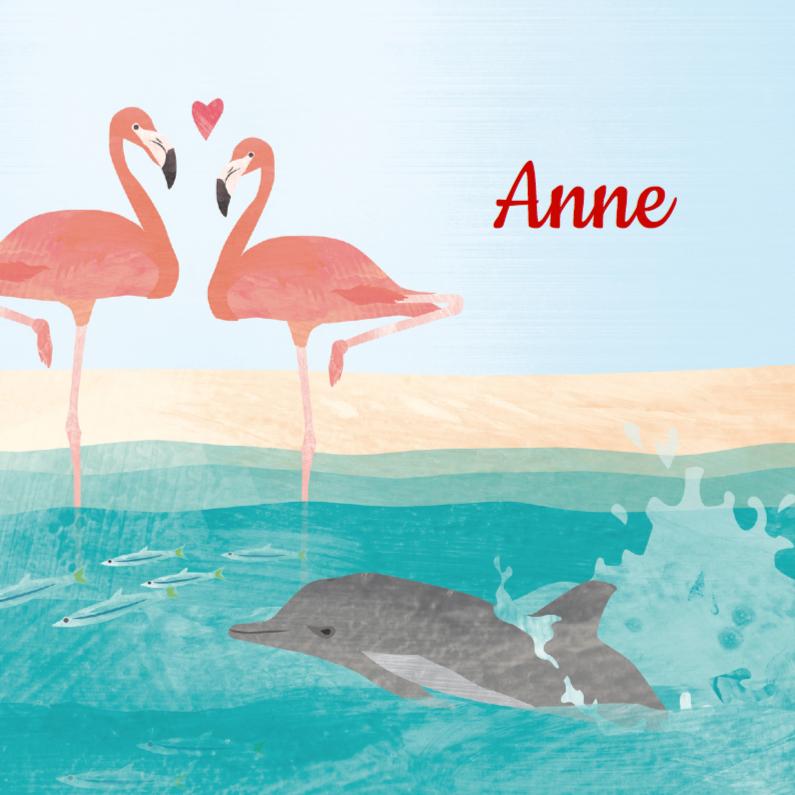 Geboortekaartjes - Geboortekaartje flamingo dolfijn