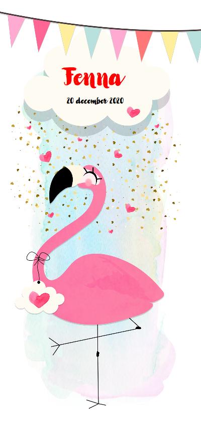 """Geboortekaartjes - """"Geboortekaartje Flamingo watercolor - SD"""""""
