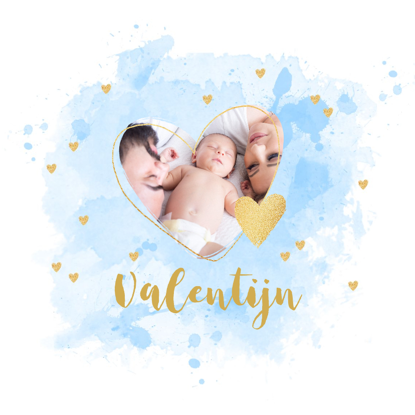 Geboortekaartjes - Geboortekaartje foto aquarel hartje lichtblauw
