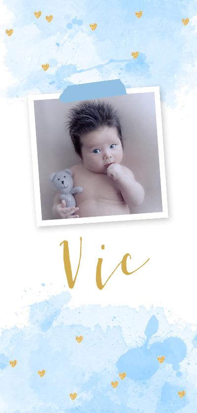 Geboortekaartjes - Geboortekaartje foto aquarel hartjes blauw