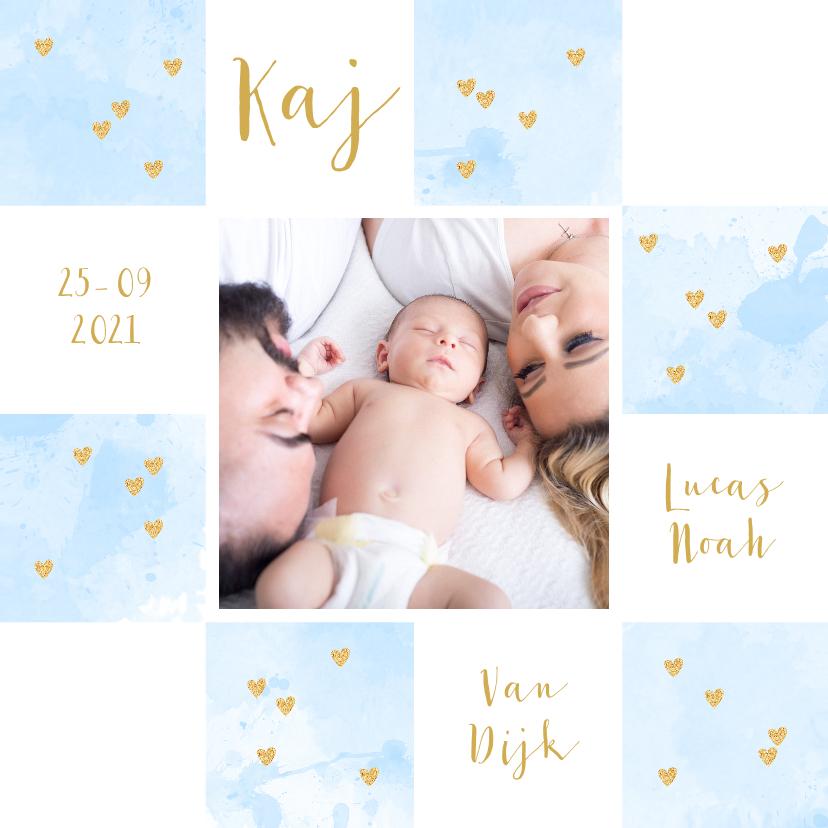 Geboortekaartjes - Geboortekaartje foto aquarel vakjes lichtblauw