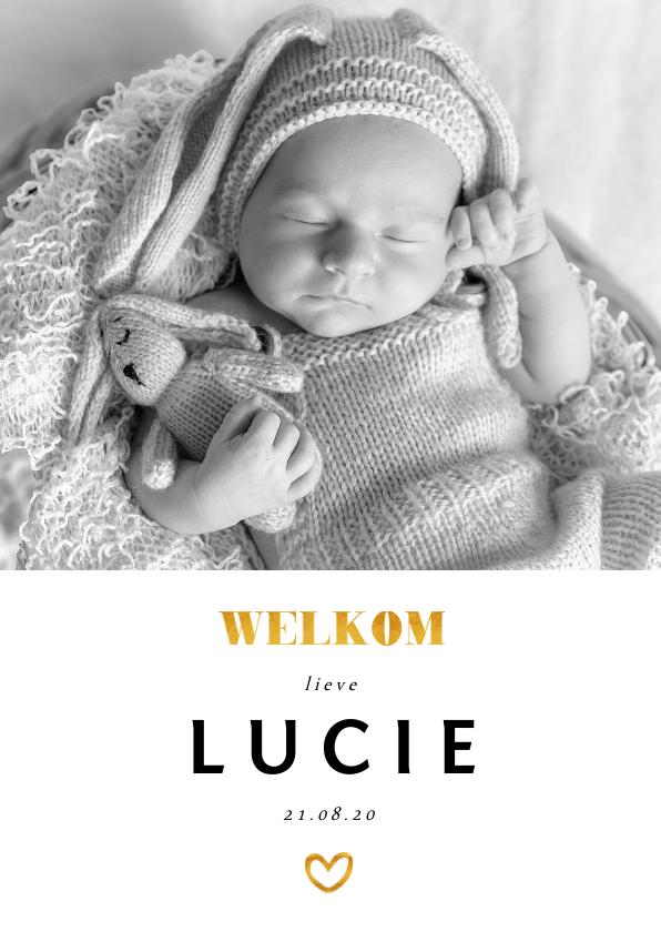 Geboortekaartjes - Geboortekaartje foto gouden accenten en  staand