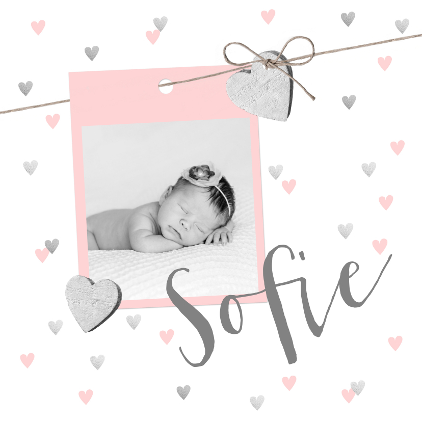 Geboortekaartjes - Geboortekaartje foto hartjes touwtje roze