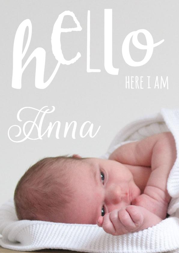 Geboortekaartjes - Geboortekaartje foto hello hip