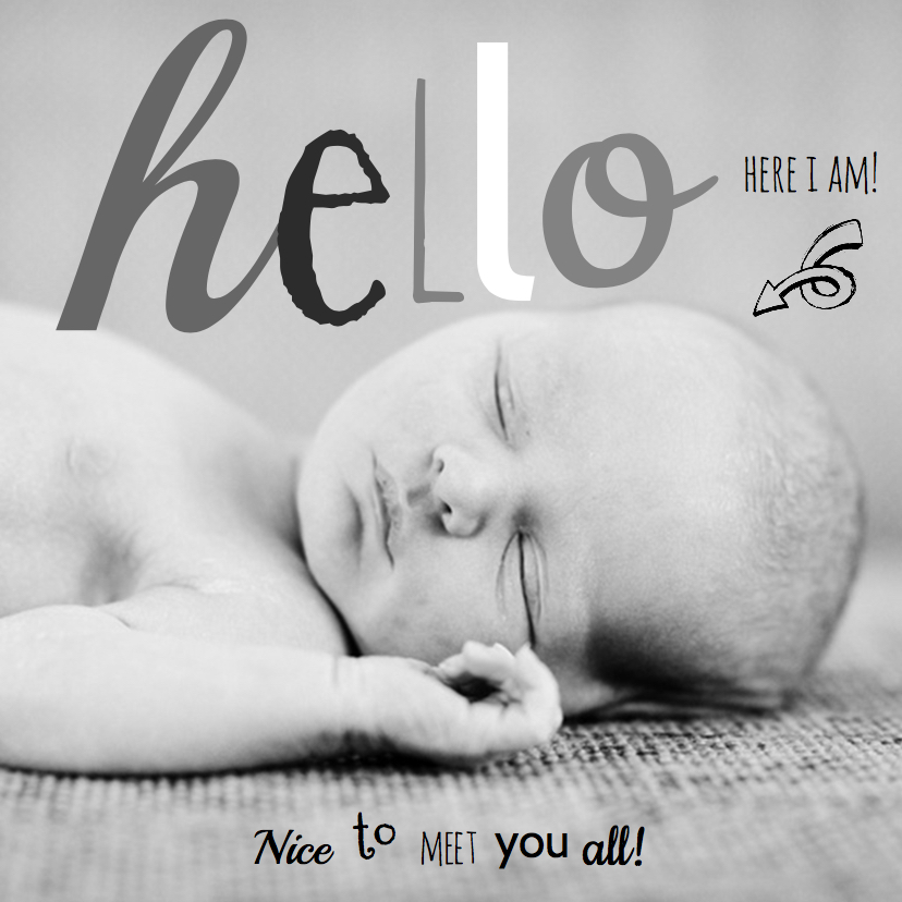 Geboortekaartjes - Geboortekaartje foto hip hello