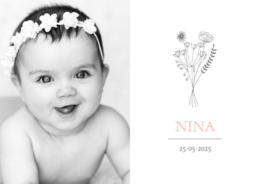 Geboortekaartjes - Geboortekaartje foto illustratie bloemen meisje