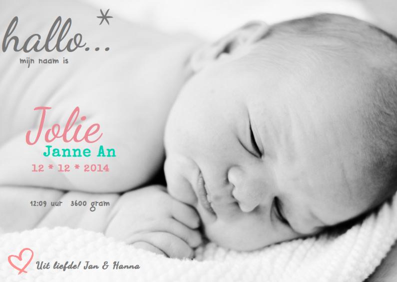 Geboortekaartjes - Geboortekaartje foto Jolie