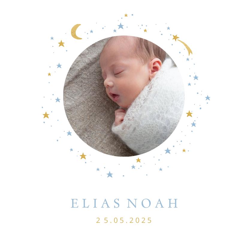 Geboortekaartjes - Geboortekaartje foto maan sterren jongen